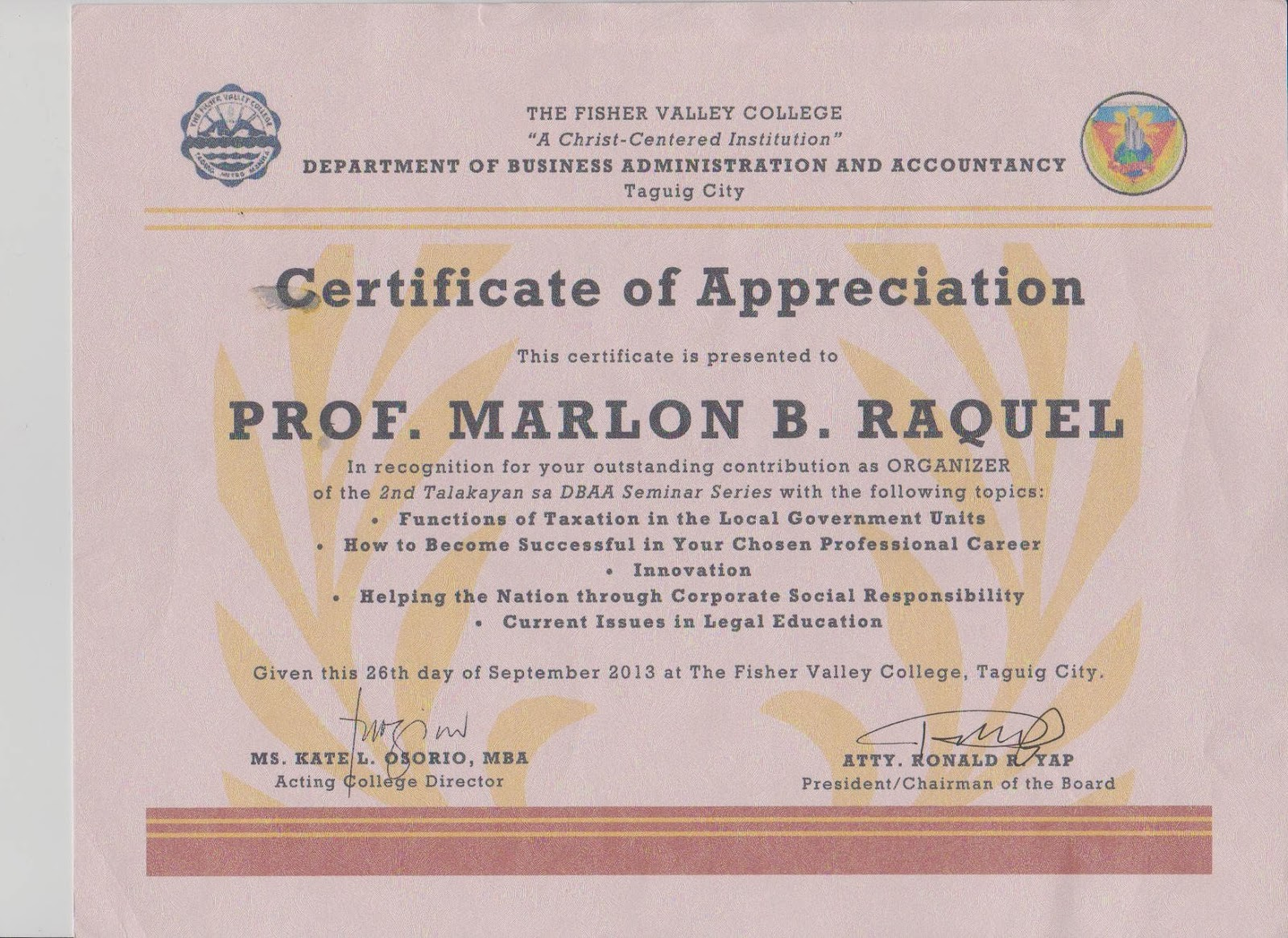 Plaque of appreciation template fieldstation tidbits and bytes certificate of appreciation for organizing an event yadclub Choice Image