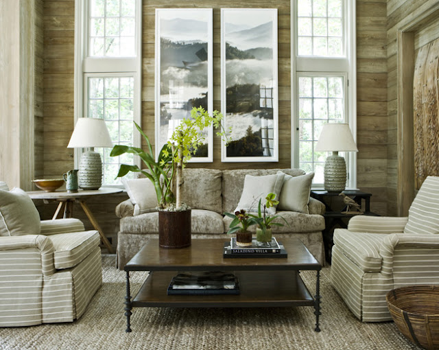 rustic cottage with modern twists from patterned furniture and white accents