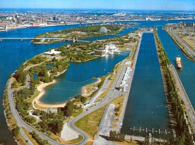 The venue for open water swim was held in the rowing course (centre right) used for the 1976 Montreal Olympics. The St Lawerence Sea Way is on the right, and the main river channel is on the left