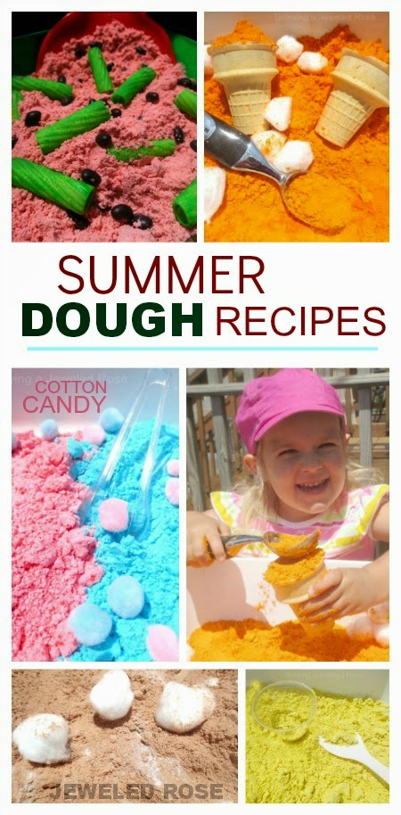a variety of easy recipes for making scented play doughs perfect for Summer!   With scents like lemonade, cotton candy, and watermelon, these dough varieties perfectly capture the essence of the season.