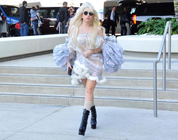 I this net frock style dress gaga looks a sexy superstar