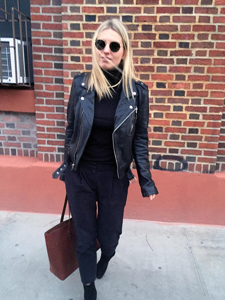 BLK DNM leather bomber jacket, Tibi pants, Free People boots, Splendid turtleneck, J.Crew choker, Ray-Ban Lennon sunglasses