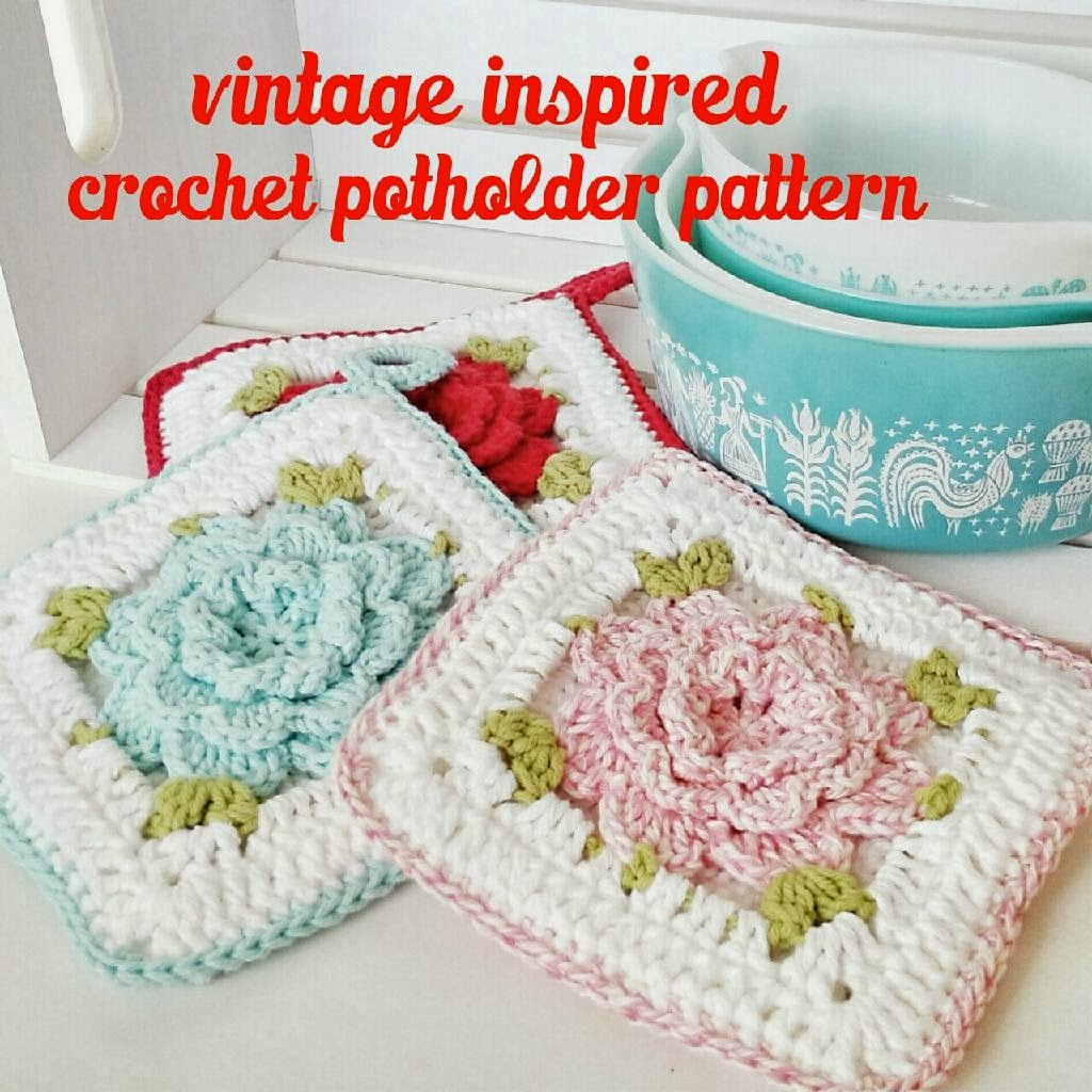 Crochet Patterns Vintage Potholders : ... lane: New Pattern - Vintage Inspired Crochet Flower Potholder