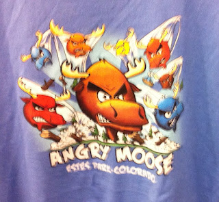 Estes Park Angry Moose t-shirt imitating Angry Birds