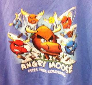 Estes Park Angry Moose t-shirt imitating Angry Birds
