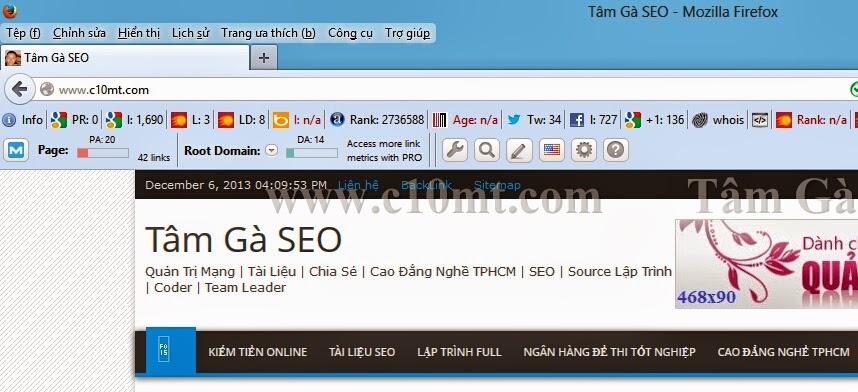 Check site với Seomoz Toolbar của Mozbar