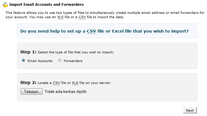 halaman hasil import addresses and fowarders - ilmuwebhosting.com