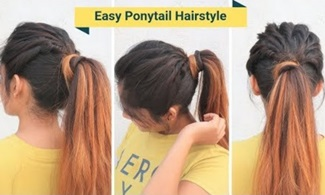 Easy High Messy Ponytail Hairstyle For School, Collage /Everyday hairstyle