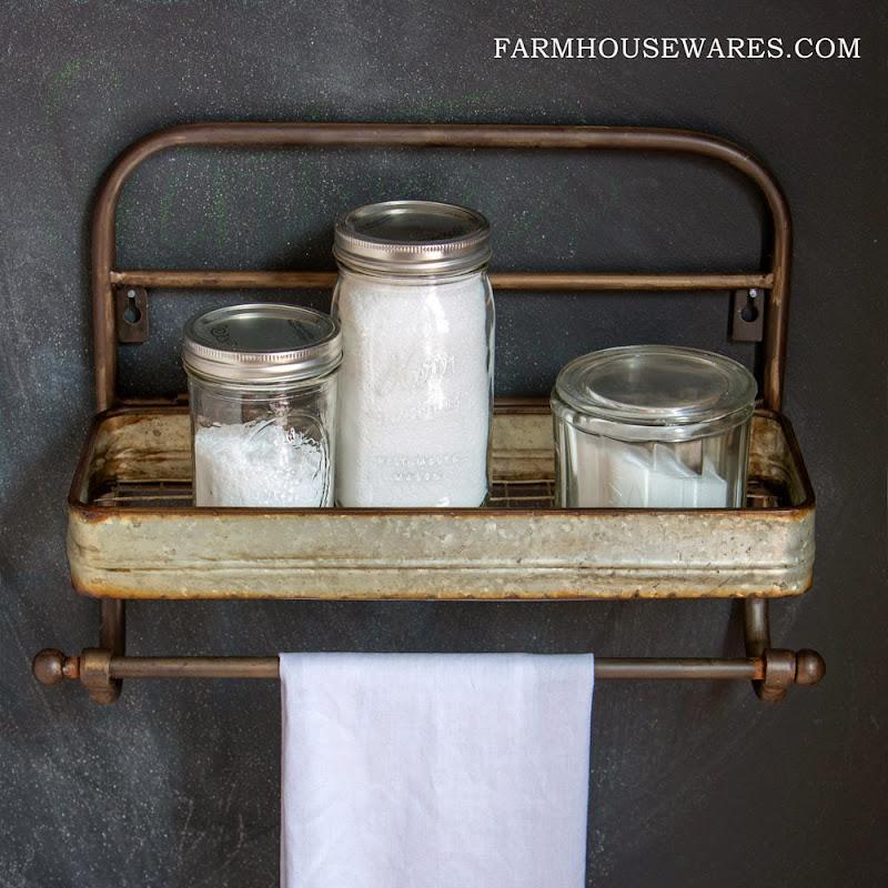 Farmhouse Metal Towel Rack Shelf