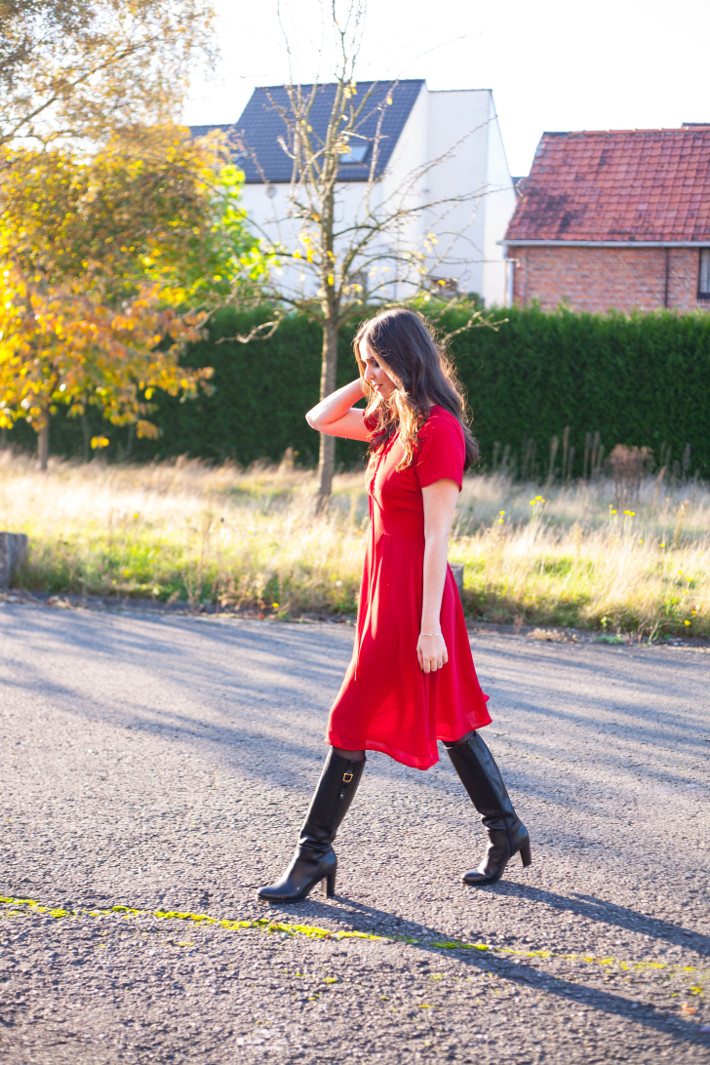 Outfit: date night in red lace up dress and knee boots