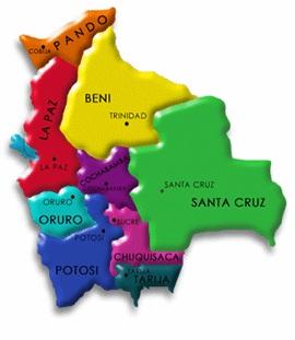 Mapa de Bolivia, división territorial