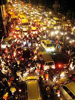 traffic jam by night in Jakarta
