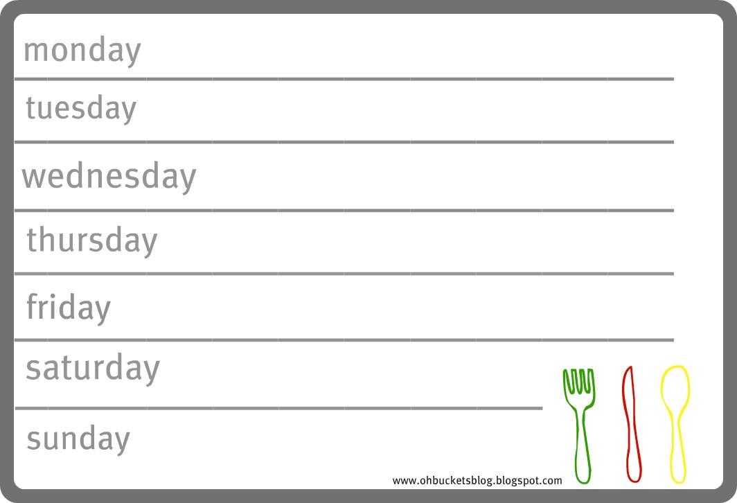 weekly dinner menu templates