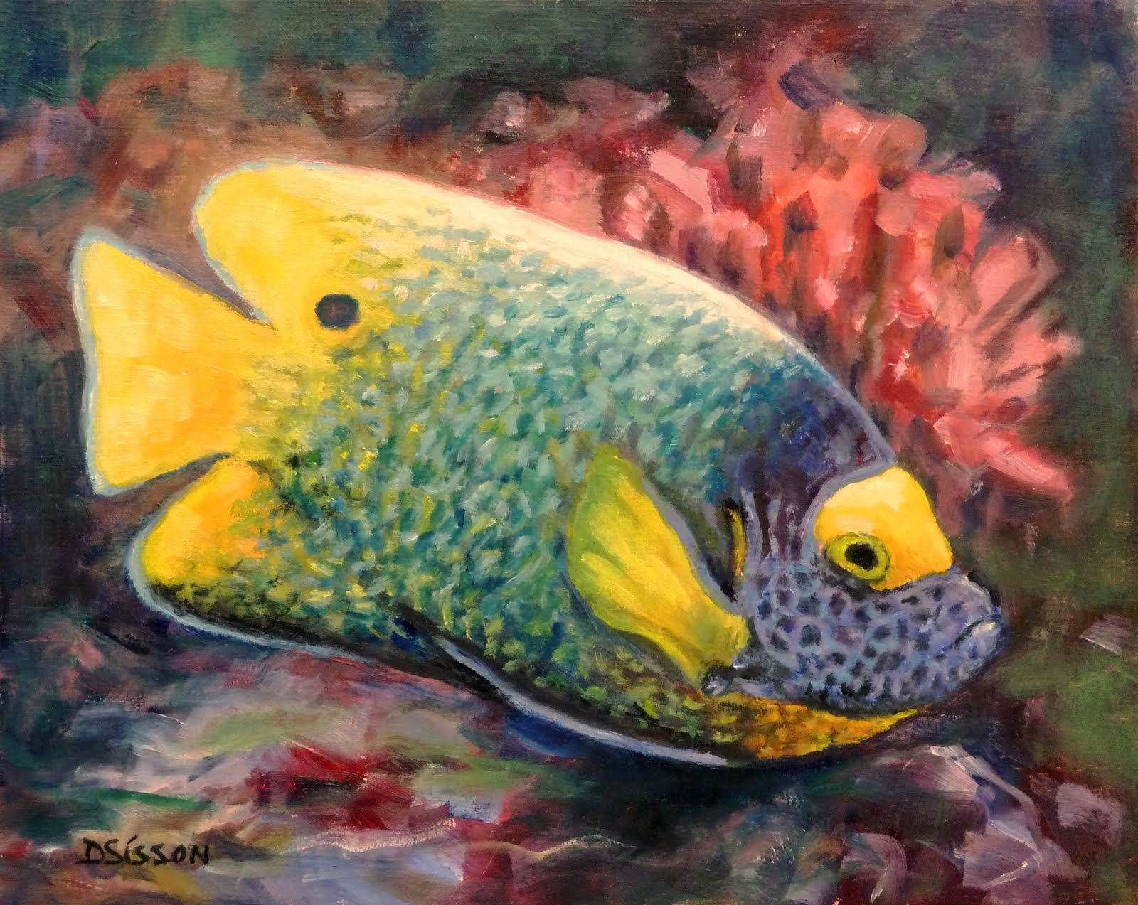 Daily Painting Projects Blue Face Angelfish Oil Painting
