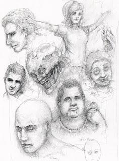 random faces in pencil sketch book