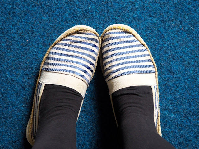 Summer Colours | outfit details of blue and white striped espadrille shoes