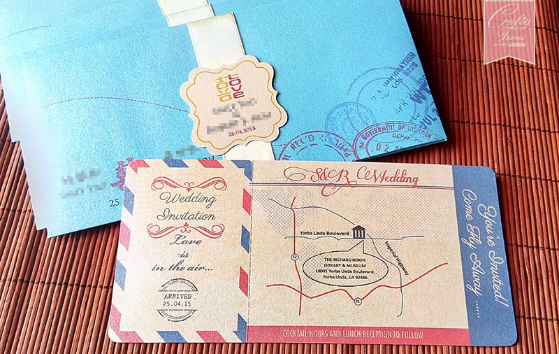 Turquoise Chinese Wedding Boarding Pass Invitation Card Malaysia Handmade