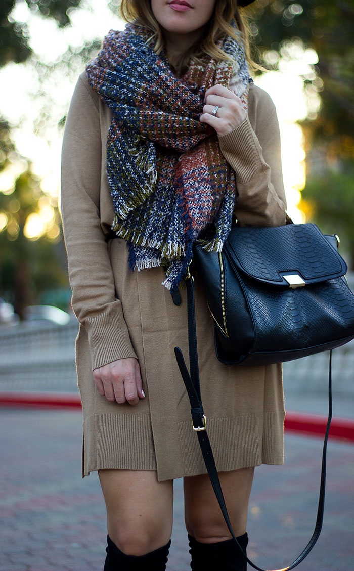 fall fashion, sweater dress, fall fashion for women, blanket scarf, how to style a blanket scarf, plaid blanket scarf, black felt hat for women, black over the knee boots, camel sweater, camel sweater dress, wrap dress