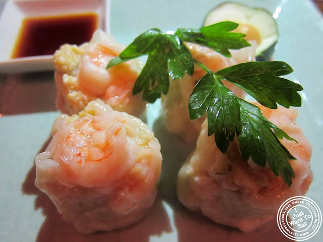 Image of Shrimp shumai at Japonica, Japanese restaurant in Greenwich Village, NYC, New York