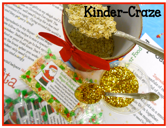 used rolled oats and glitter to make magic reindeer food