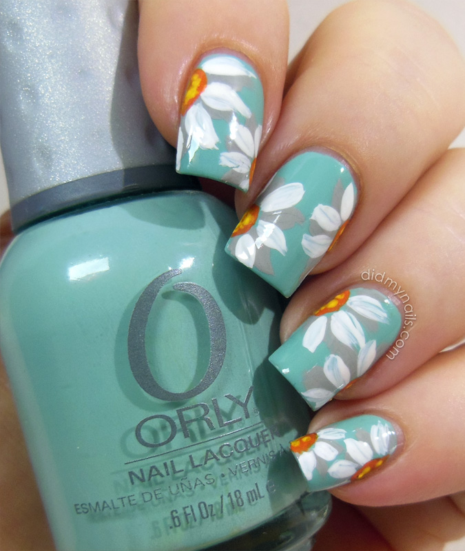 daisy nail art flowers