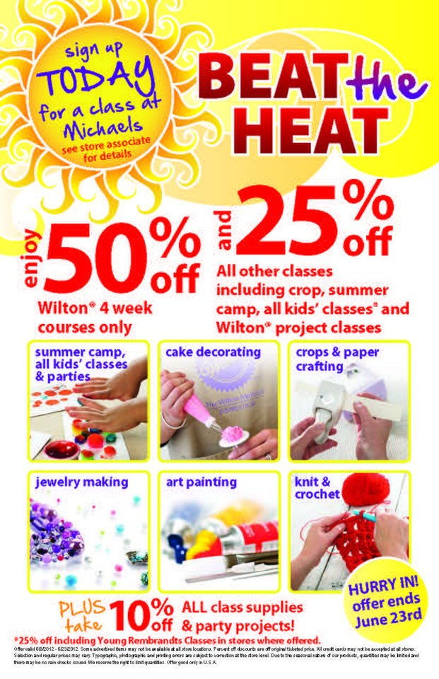 Roberta teaches craft classes on sale for Michaels arts and crafts class schedule
