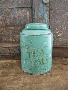 Early Tea Tin Original Paint