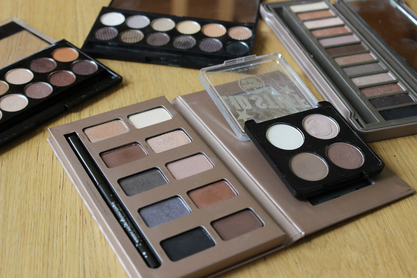 Sleek, Urban decay, mua, stila and soap of glory palettes.