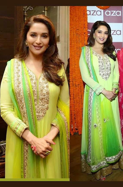 1832 - Madhuri Dixit In Sva Anarkali Suit at Gulaab Gang trailer launch in Mumbai,Bollywood Anarkali Replica Collection - 2