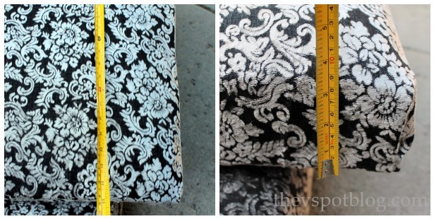 Black and white outdoor furniture cushions for Halloween.