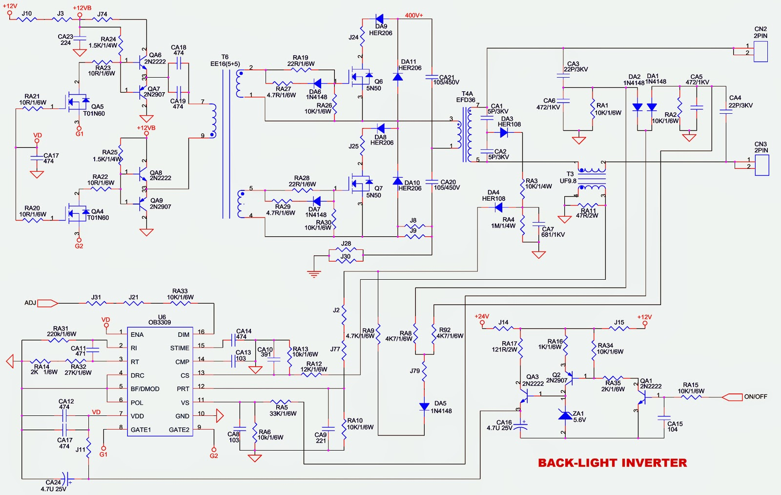 Noblex Toshiba 32lc837 32 Inch Lcd Tv Power And Back Light Schematic Inverter Circuit Diagram
