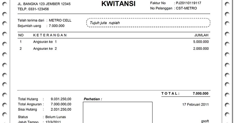 Download Contoh Kwitansi Pembayaran
