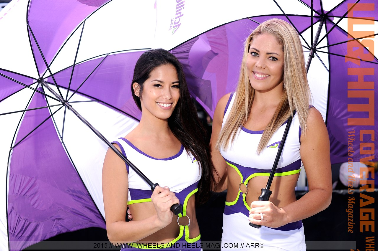 Arley Elizabeth and Miranda Hayes as Achilles umbrella girls at 2015 Formula Drift Long Beach