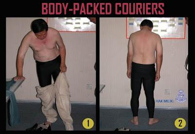 Gambar Taktik-Taktik Penyeludupan Dadah body packed couriers