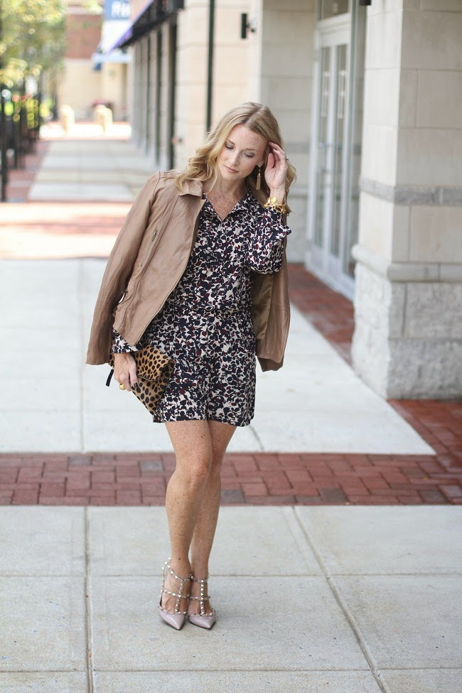 #streetglam, #contestentry, loft floral romper, tan leather jacket, valentino rock stud heels, clare vivier leopard print clutch
