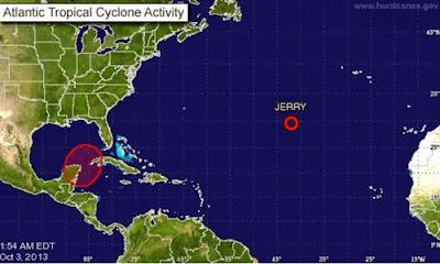 """Ubicaciòn depresión tropical """"Jerry"""", 03 Octubre 2013"""