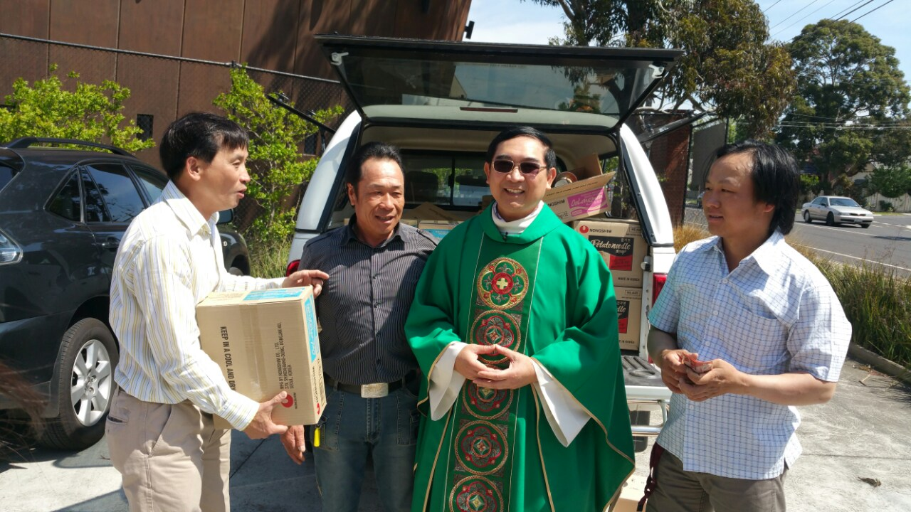 Fr. Peter and his friends were selling noodles to help the poor