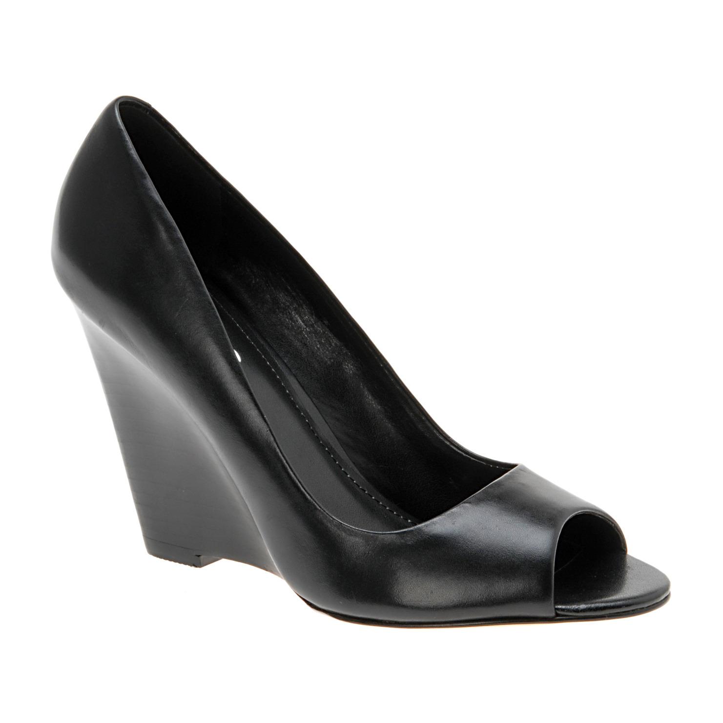 pbs sports aldo black peep toe wedge heels sz 8 retail 80