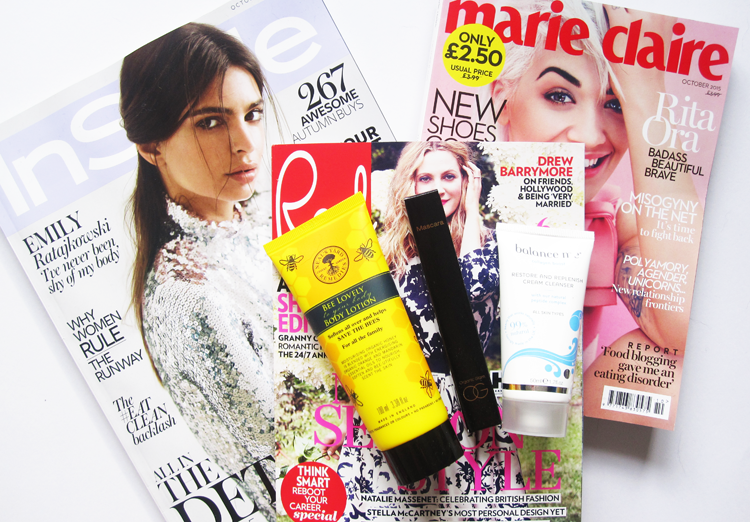 UK Magazine Freebies! In Style with Bee Good, Red with Organic Glam & Marie Claire with Balance Me - October 2015 issues