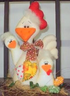 Família de galinhas de feltro