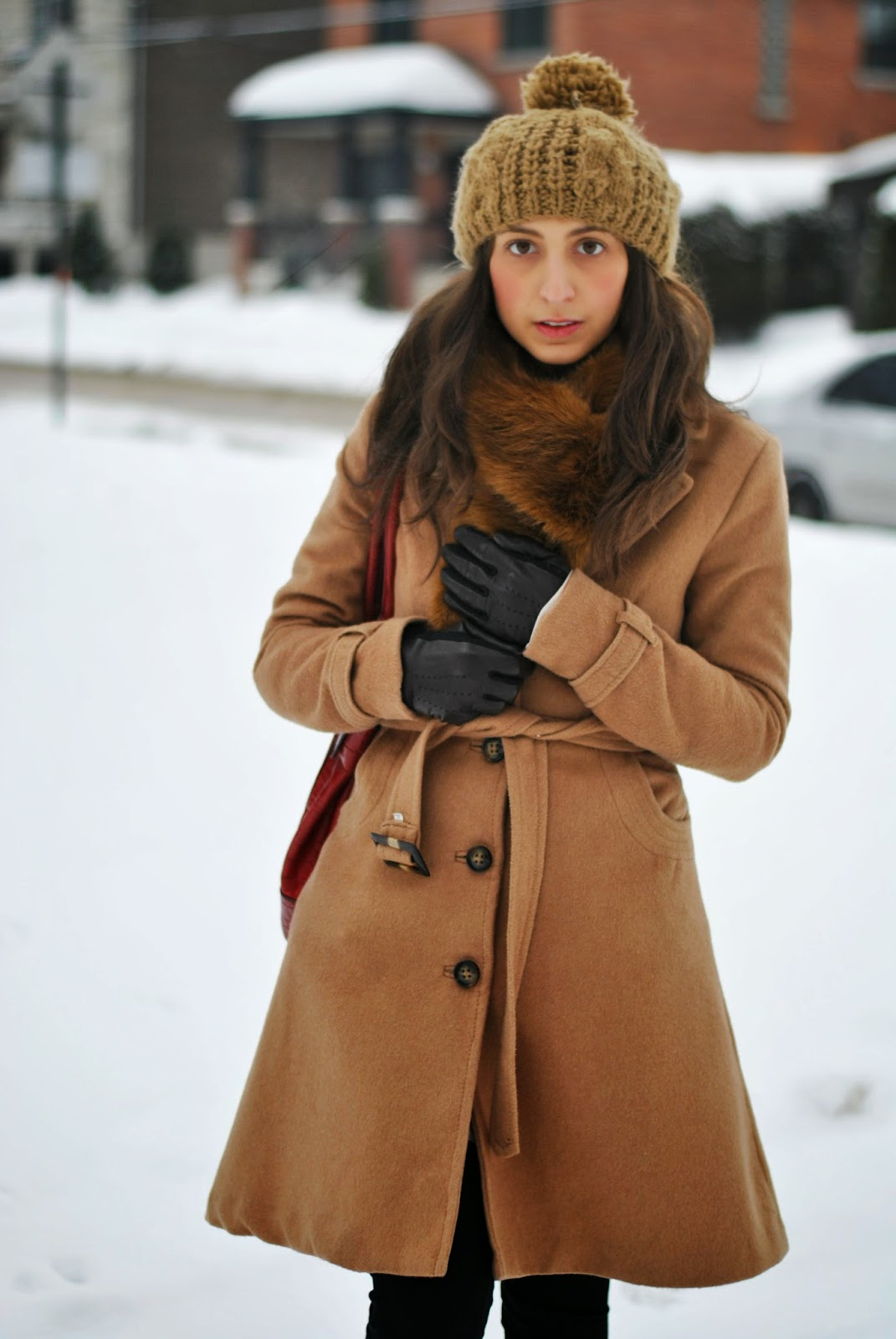 beige winter trench tuque brown booties fashion red handbag fur scarf leather gloves