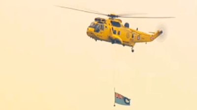 The helicopter of Air Rescue displaying the flag of Prince William's unit. YouTube 2011.
