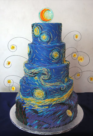 Starry Lane Wedding Cake