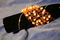Autumn bracelet - copper wire, Czech glass, mother of pearl beads, crochet :: All the Pretty Things