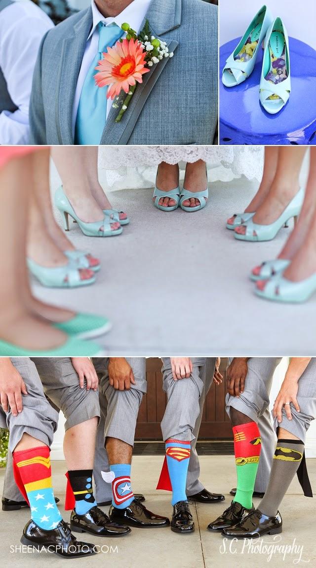 Blue wedding shoes, superhero groomsmen socks, faux flower boutiniere, Harbor Shores golf course wedding