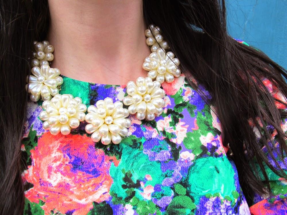 London fashion blogger Emma Louise Layla wearing River Island floral print dress