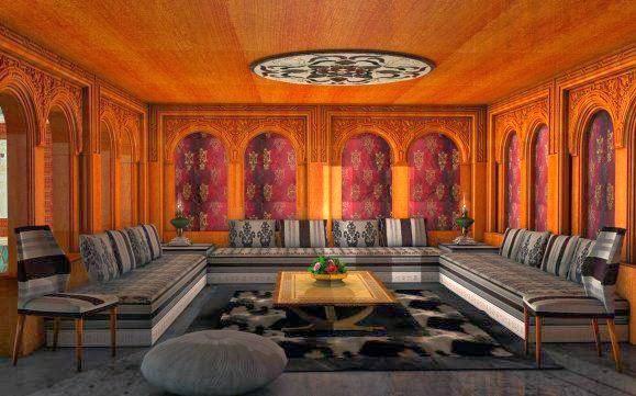 Salons du Maroc et Décoration orientale: Salon marocain confort velours