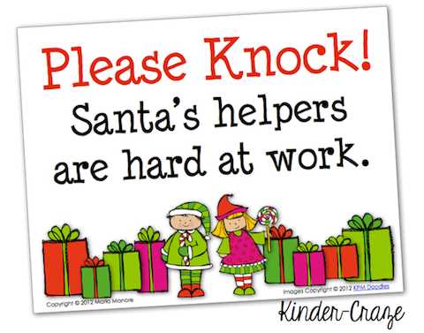 FREE sign to hang on your classroom door while students work on Christmas projects