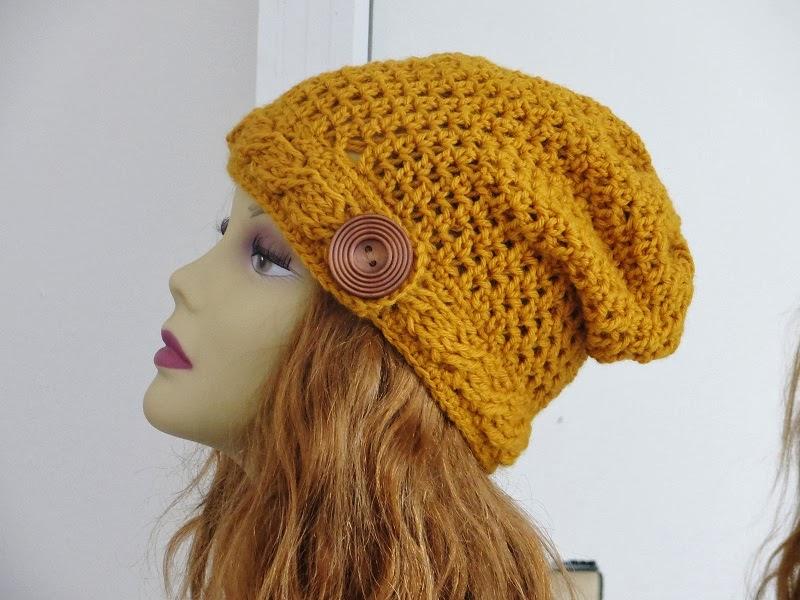 Sydney Slouch Hat Crochet Pattern Cable Brim Slouchy Beanie Pdf
