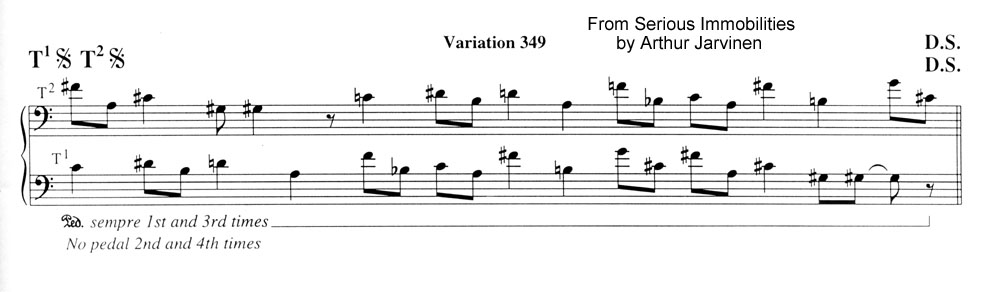 Variation 349 from Serious Immobilities for piano by Arthur Jarvinen
